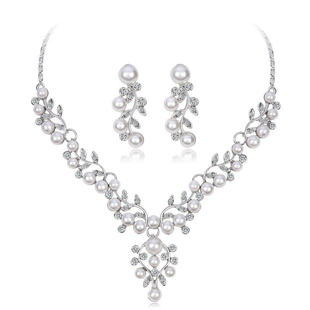 Hot Diamond Necklace Earrings Wedding Jewelry Set