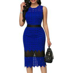 Lace Stitching Tight Hollowed Out Evening Dress Waist Cut Dress -