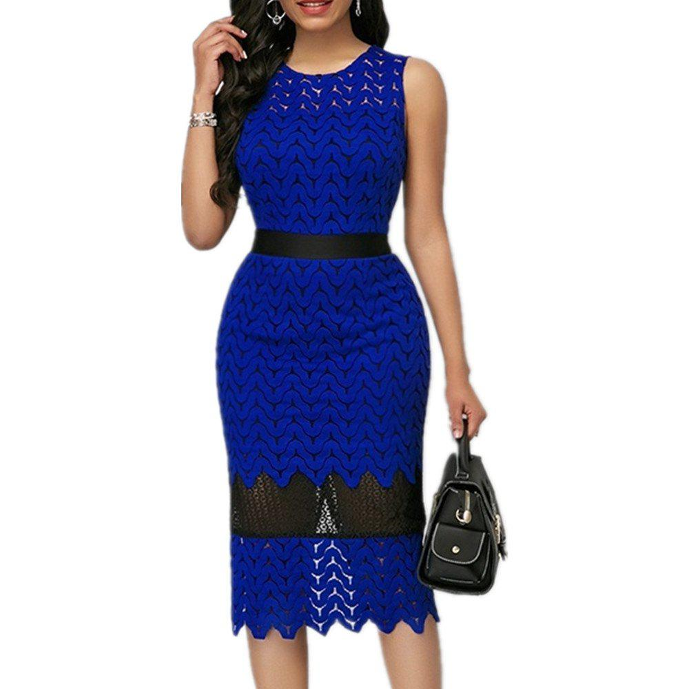 Online Lace Stitching Tight Hollowed Out Evening Dress Waist Cut Dress