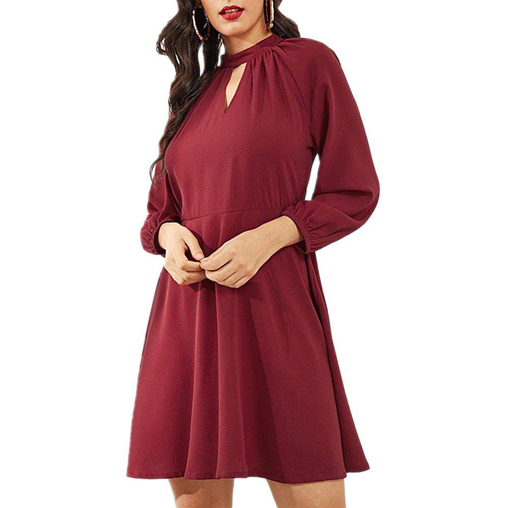 Shop A Long Sleeve Dress with Lantern Sleeves Tied Around The Neck