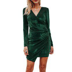 V Neck Dress with Tight Waistband and Golden Fleece -