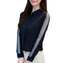 Share Women'S Shirt Trendy Hollow Out Turn Down Collar Long Sleeve Top -