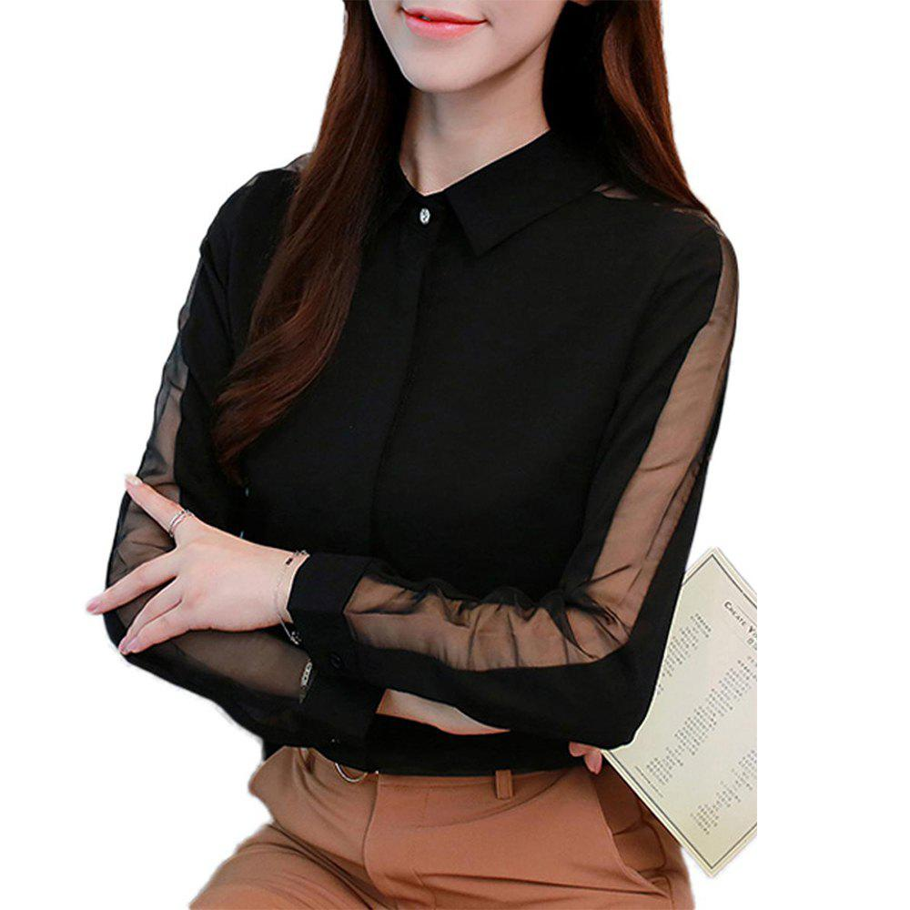 Affordable Share Women'S Shirt Trendy Hollow Out Turn Down Collar Long Sleeve Top