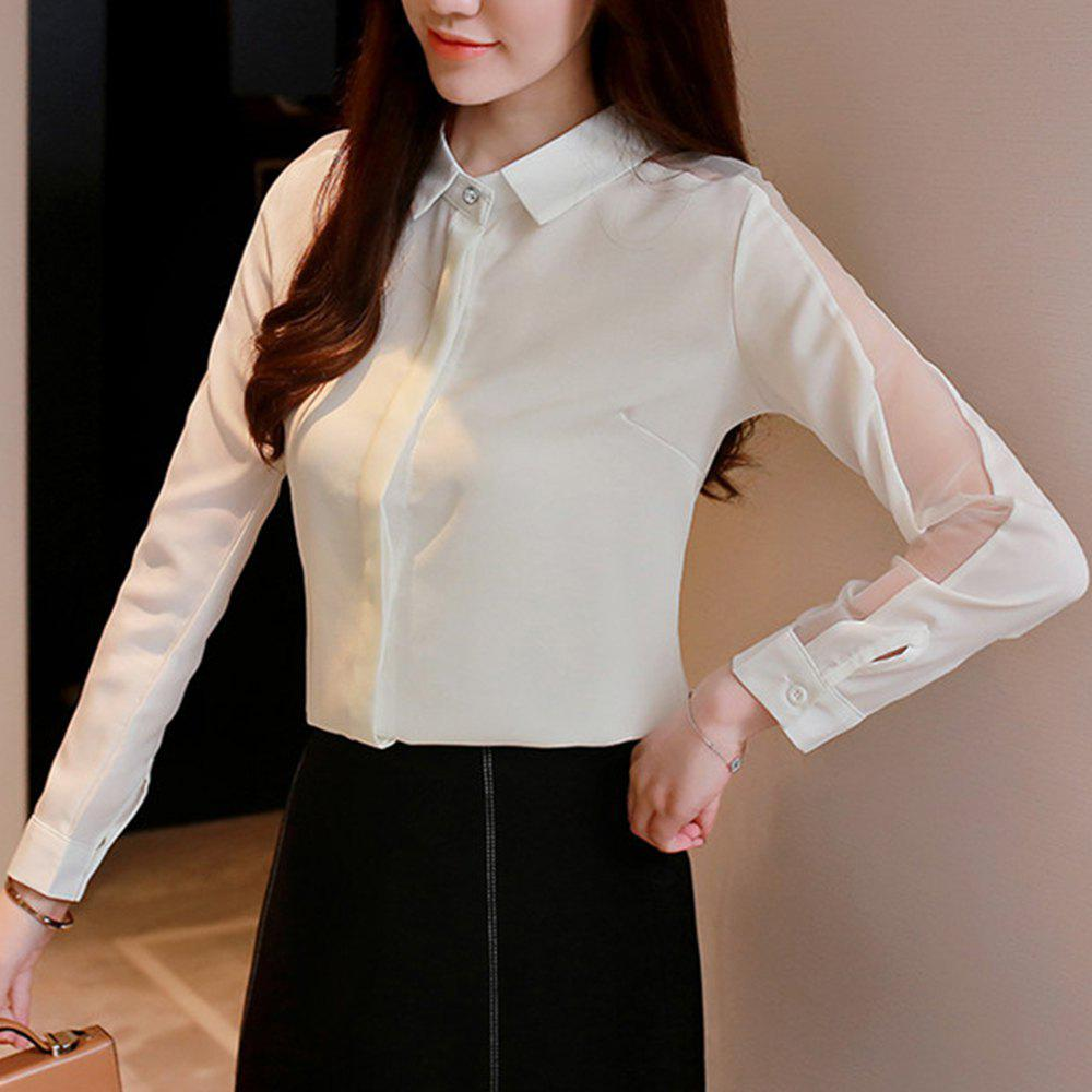 Chic Share Women'S Shirt Trendy Hollow Out Turn Down Collar Long Sleeve Top