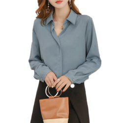 Women'S Shirt Fashion Solid Color Long Sleeve Top -