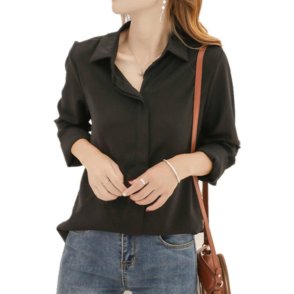Discount Women'S Shirt Fashion Solid Color Long Sleeve Top