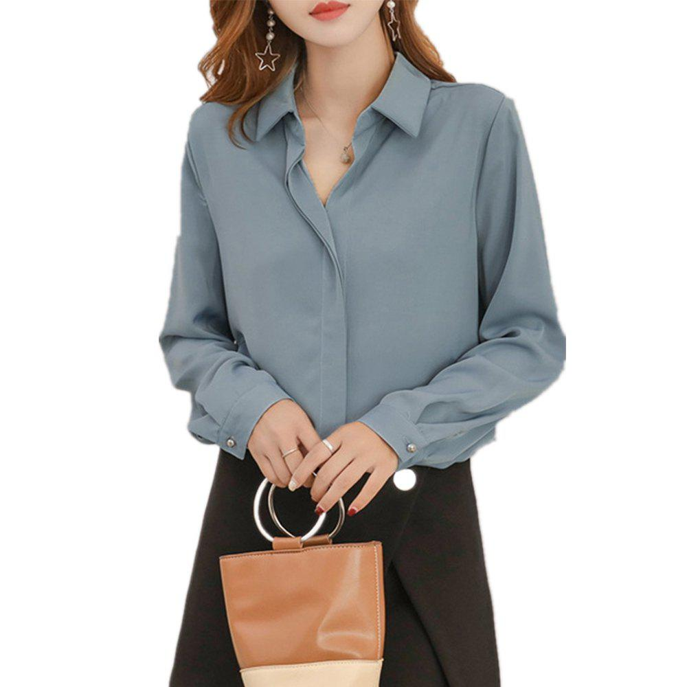 Shops Women'S Shirt Fashion Solid Color Long Sleeve Top