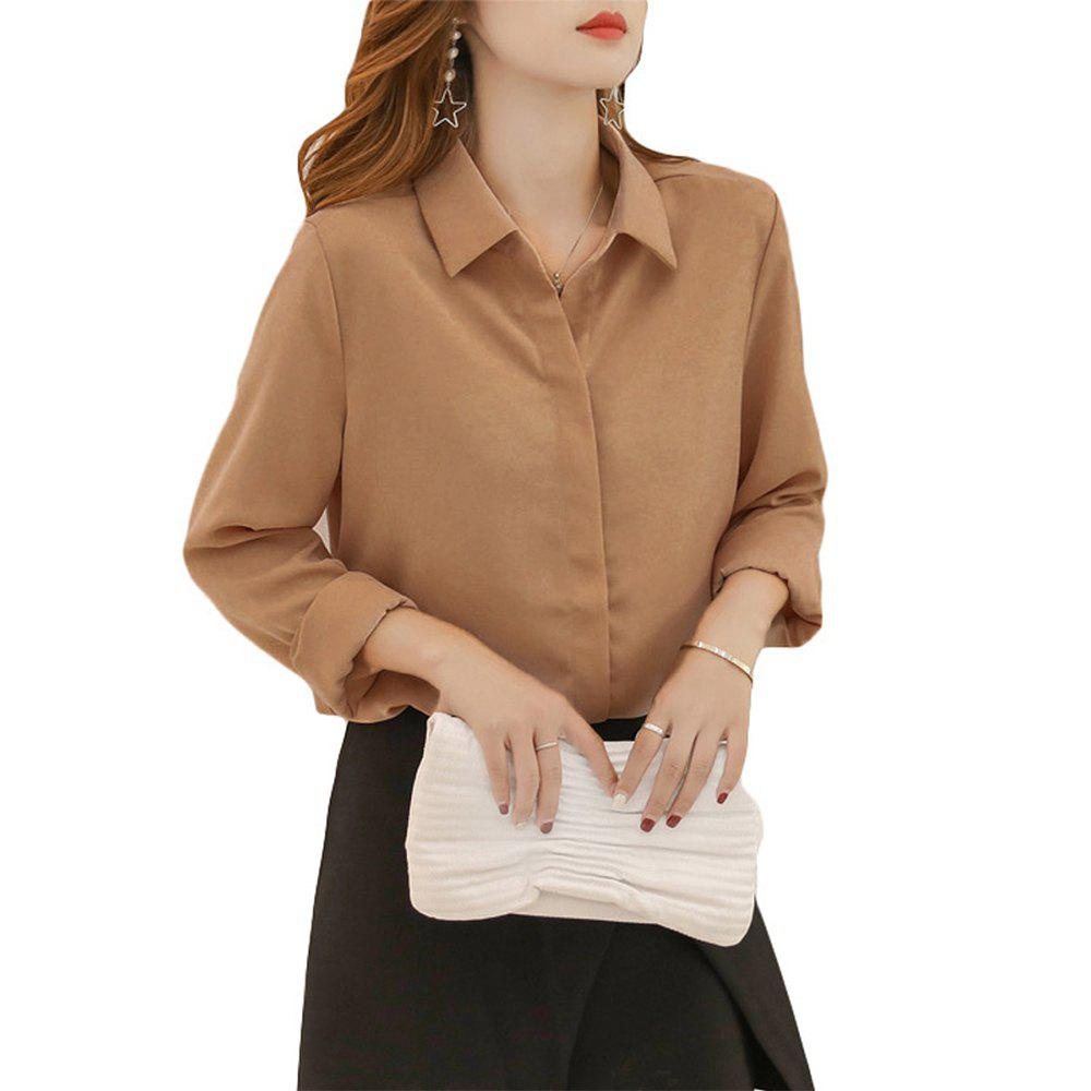 Shop Women'S Shirt Fashion Solid Color Long Sleeve Top