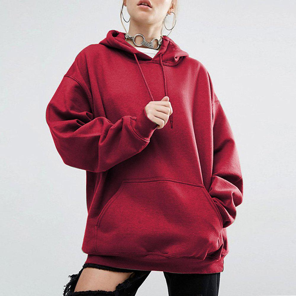 Outfit Women'S Hoodie Solid Color Pocket Casual Long Sleeve Hoodie