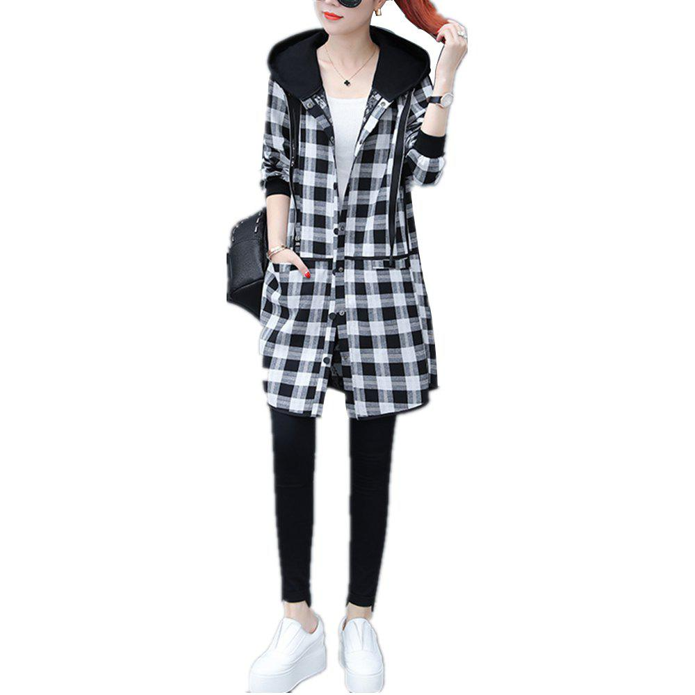 Online Women's Quilted Coat Loose Long Sleeve Hooded Coat