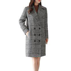 Women's Long Sleeve Notched Collar Houndstooth Pattern Loose Coat -