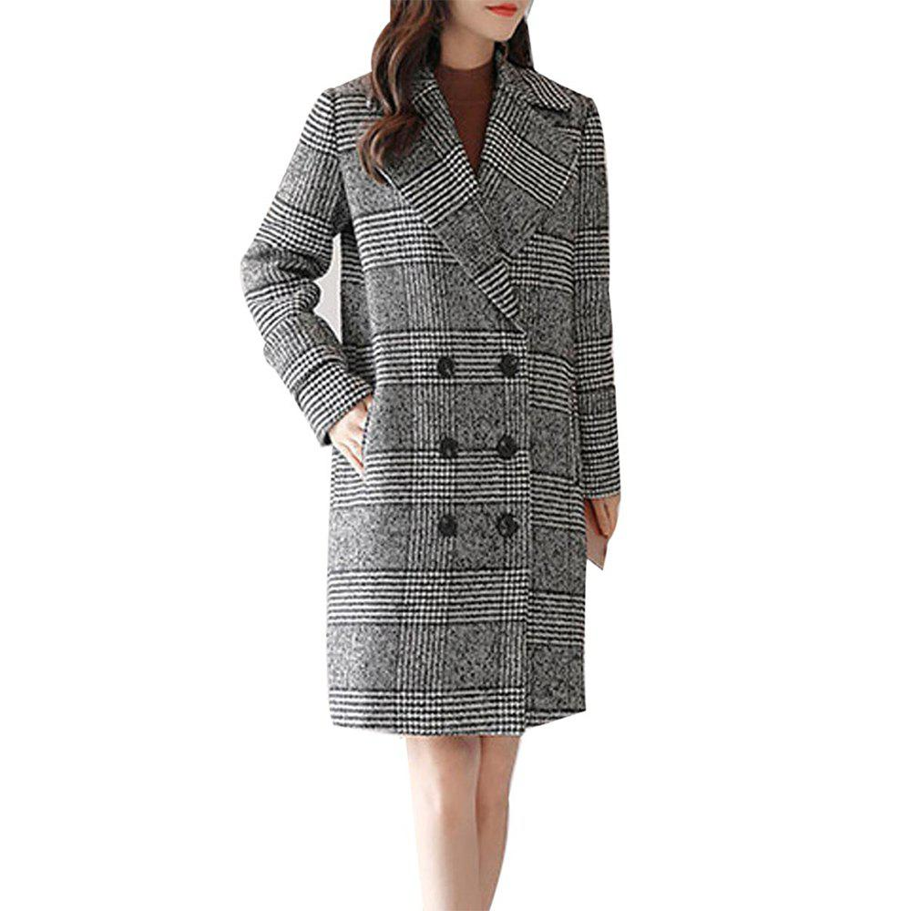 Fashion Women's Long Sleeve Notched Collar Houndstooth Pattern Loose Coat