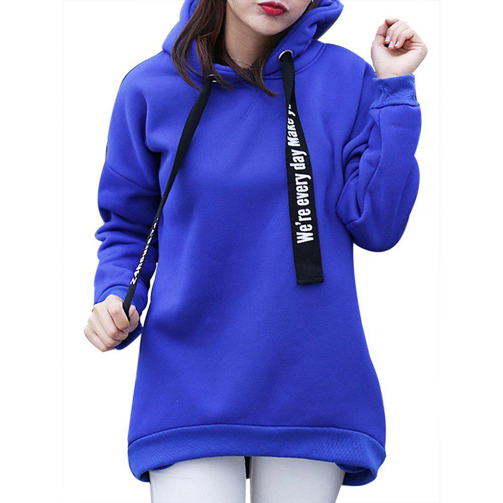 Shops Women'S Plus Size Hoodie Long Sleeve Letters Pattern Solid Color Thicken Hoodie