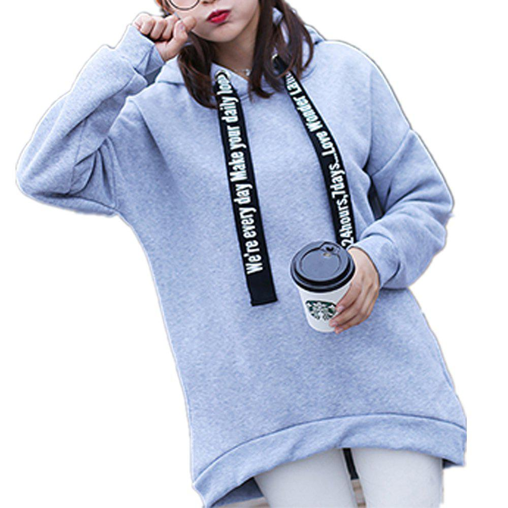 Outfit Women'S Plus Size Hoodie Long Sleeve Letters Pattern Solid Color Thicken Hoodie