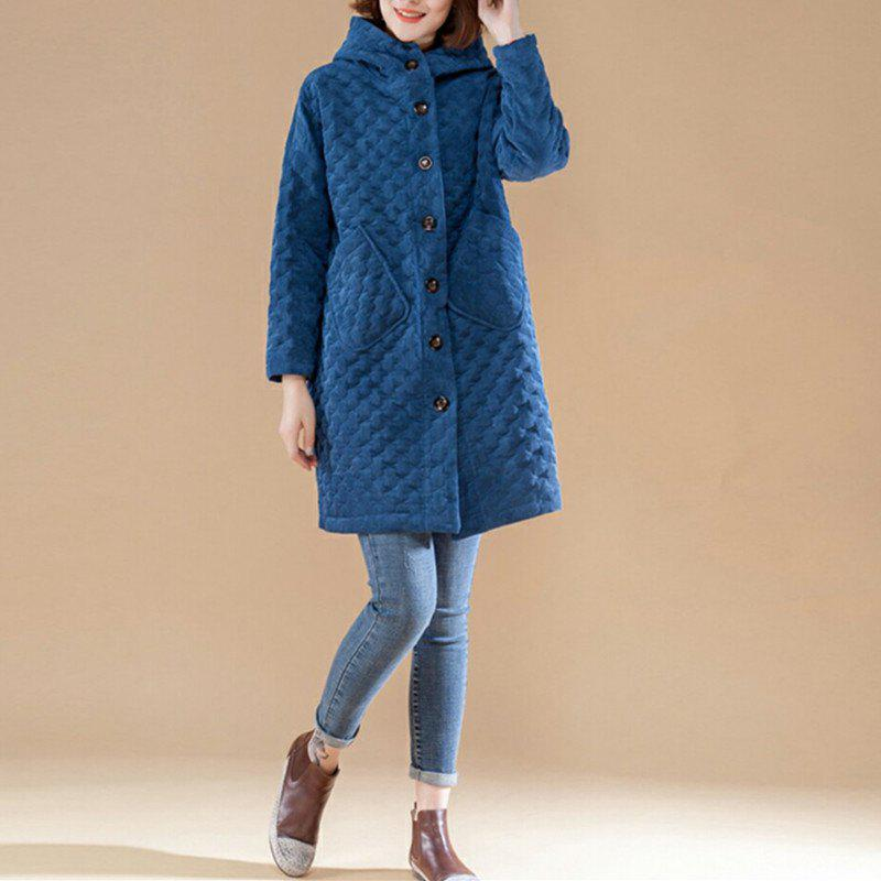 Latest Long Autumn and Winter Warm Coat with Cotton Added Thick Hood