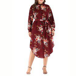 Large Round Neck Long Sleeve Printed Tie Shirt Dress -