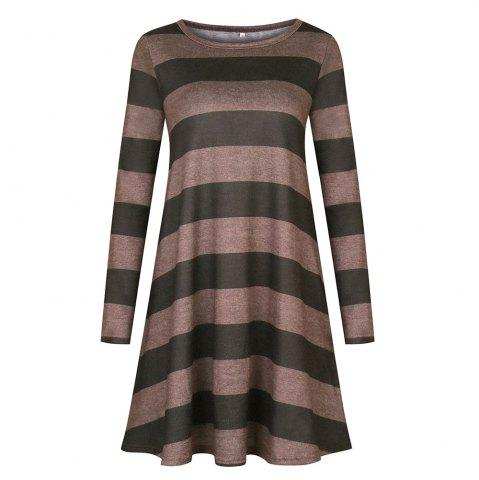 2018 Casual Long Sleeve Loose Checkered Striped Swing T-Shirt Dress
