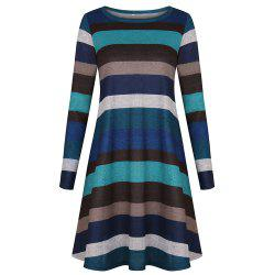 2018 Casual Long Sleeve Loose Checkered Striped Swing T-Shirt Dress -
