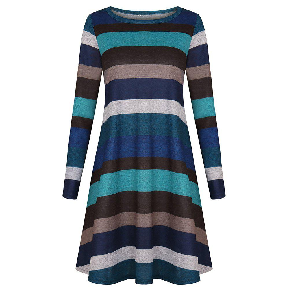 Shops 2018 Casual Long Sleeve Loose Checkered Striped Swing T-Shirt Dress