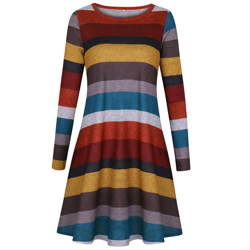 2019 2018 Casual Long Sleeve Loose Checkered Striped Swing T Shirt