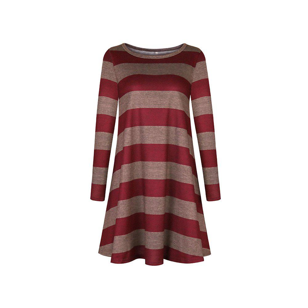 New 2018 Casual Long Sleeve Loose Checkered Striped Swing T-Shirt Dress