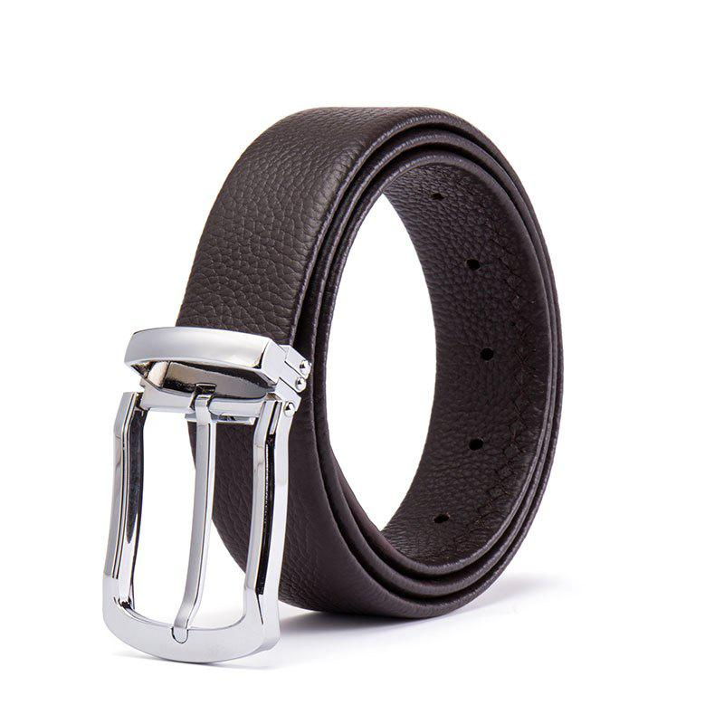 Men 's Head Layer Peau de vache Mode Simple Ceinture Pin Alliage