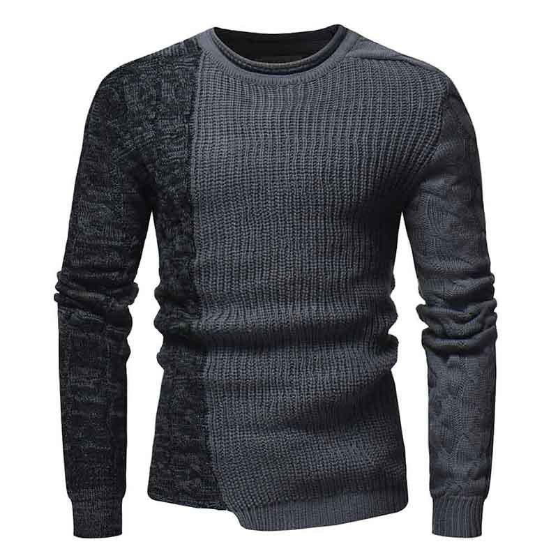 Shops Men'S Fashion Round Neck Personality Color Matching Headband Slim Sweater