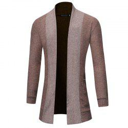 2018 New Men'S Fashion Solid Color Cardigan in The Long Sweater -