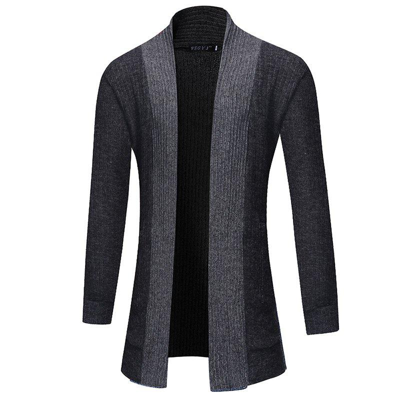 Unique 2018 New Men'S Fashion Solid Color Cardigan in The Long Sweater