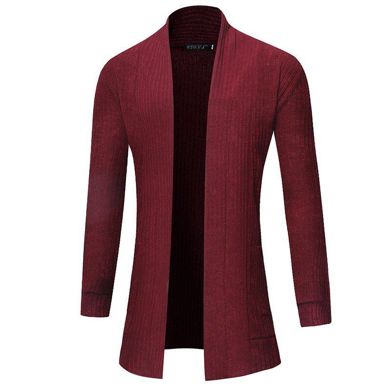 Best 2018 New Men'S Fashion Solid Color Cardigan in The Long Sweater
