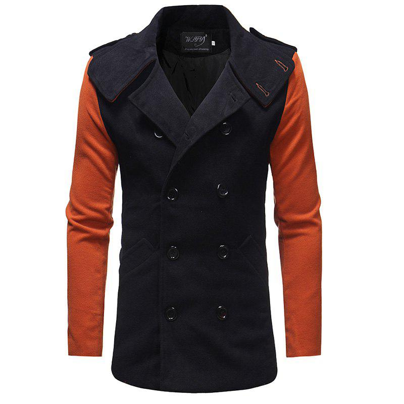 Latest Men'S Fashion Stitching Double-Breasted Double-Sided Slim Trench Coat
