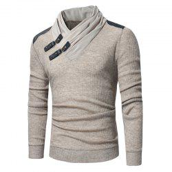 2018 Men'S Fashion Solid Color Long-Sleeved Slim Sweater -