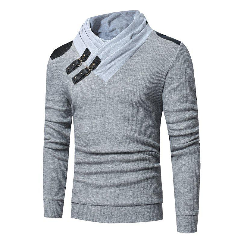 Affordable 2018 Men'S Fashion Solid Color Long-Sleeved Slim Sweater