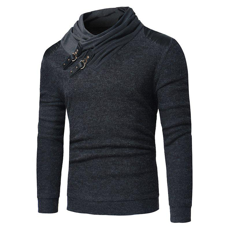 Outfits 2018 Men'S Fashion Solid Color Long-Sleeved Slim Sweater