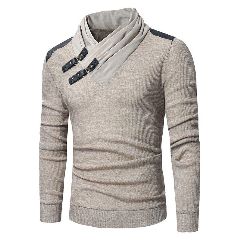 Buy 2018 Men'S Fashion Solid Color Long-Sleeved Slim Sweater