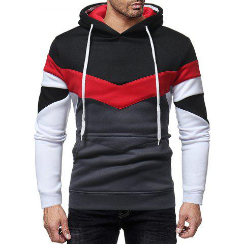 Men'S Fashion Hit Color Hooded Slim Thick Long-Sleeved Sweater
