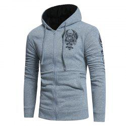 2018 New Men'S Fashion Hot Stamping Hooded Cardigan Slim Sweater -