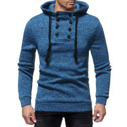 Men'S Casual Double-Breasted Solid Color Hooded Knit Slim Sweatshirt -