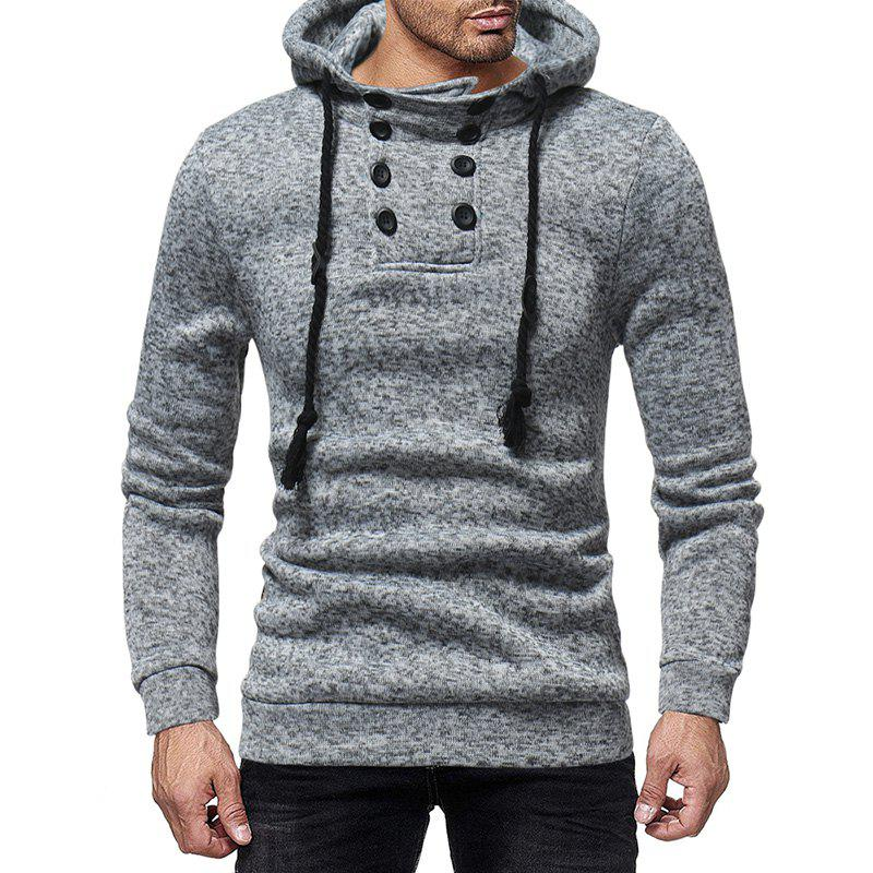 Store Men'S Casual Double-Breasted Solid Color Hooded Knit Slim Sweatshirt
