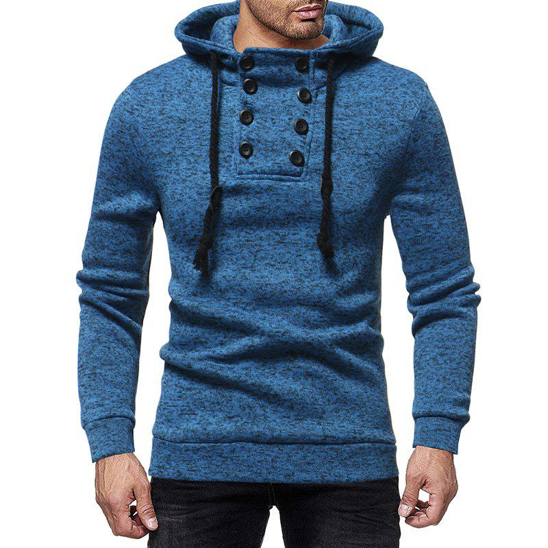 Unique Men'S Casual Double-Breasted Solid Color Hooded Knit Slim Sweatshirt