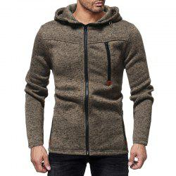 Men'S Fashion Zipper Stitching Hooded Solid Color Knit Cardigan Sweater -
