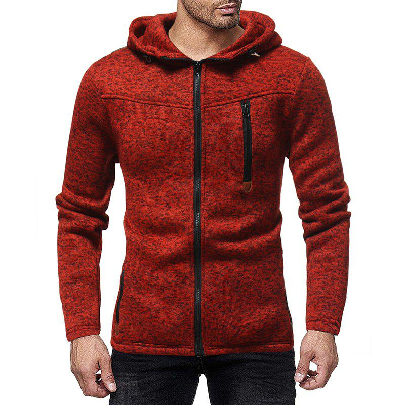 Store Men'S Fashion Zipper Stitching Hooded Solid Color Knit Cardigan Sweater