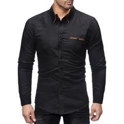 Men's Double Collar Business Solid Color Casual Slim Long Sleeve Shirt -