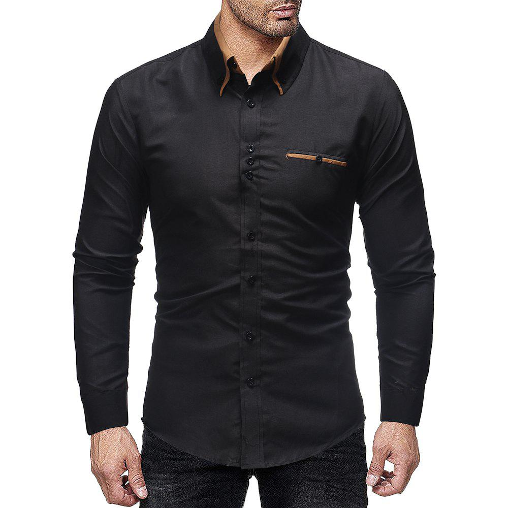 Outfit Men's Double Collar Business Solid Color Casual Slim Long Sleeve Shirt