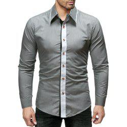 Men'S Fashion Color Matching Threshold Men'S Casual Slim Long-Sleeved Shirt -