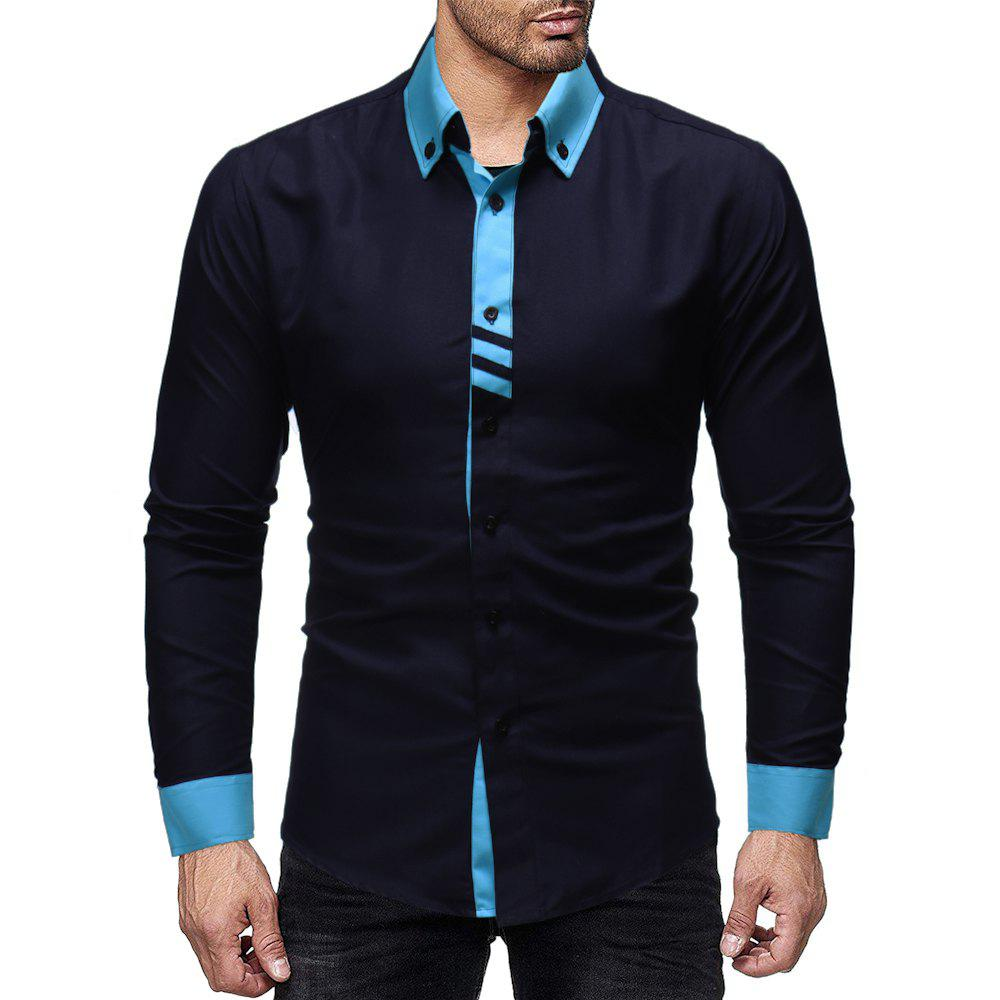 Outfits Men'S Personality Contrast Color Stitching Casual Slim Long-Sleeved Shirt