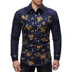 Men'S Business Stitching Color Long Sleeve Casual Slim Shirt -