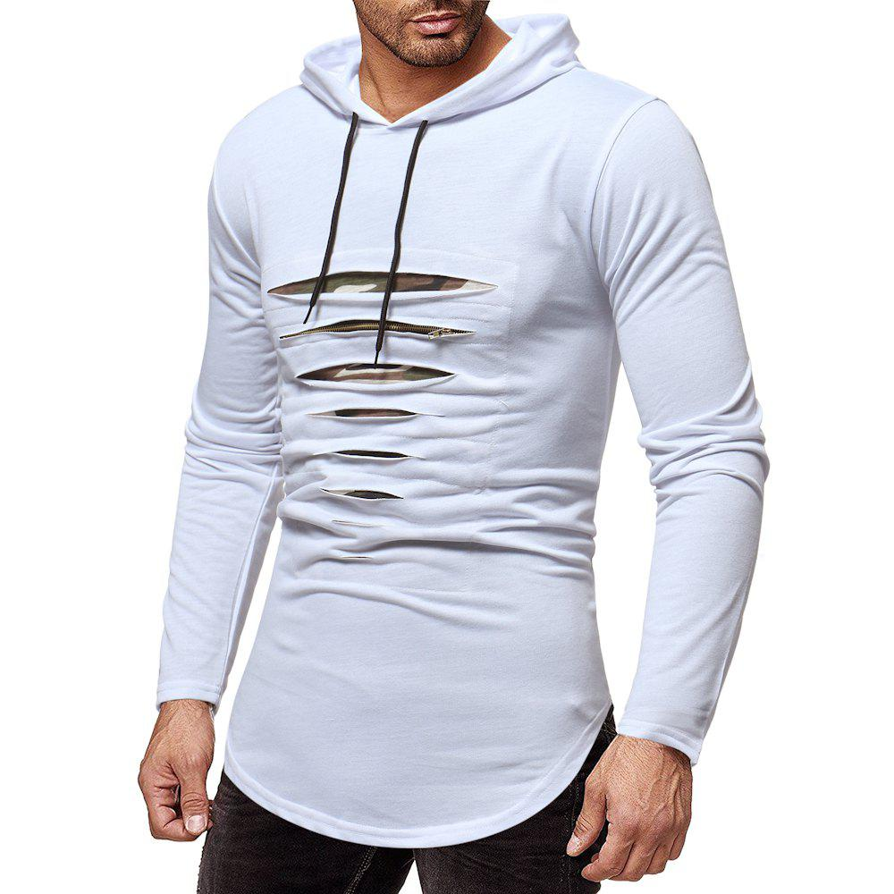 Outfit Male Tops Men Broken Zipper Tshirts Cool Pure Color Hoodies T-Shirts