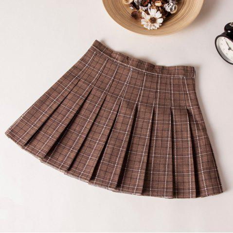 Plaid High Waist Slim Pleated Skirt A Word Age College Wind Skirt