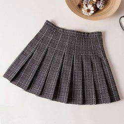 Plaid High Waist Slim Pleated Skirt A Word Age College Wind Skirt -